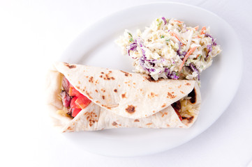 beef steak wrap with cheese and tomato