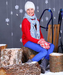 Winter Fashion. Beautiful happy girl.