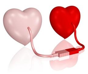 zwei Herzen sind  durch USB-Kabel verbunden