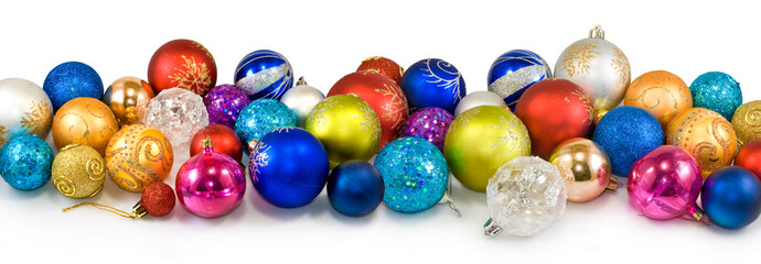 Isolated image of many Christmas tree decorations closeup
