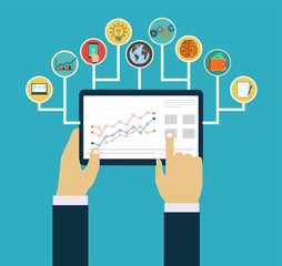 Business management concept, Interaction hands using mobile apps