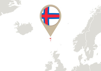 Faroe Islands on Europe map