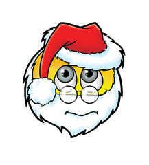 Cute frightened  Santa Claus smiley