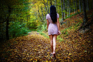 Walking barefoot in the forest