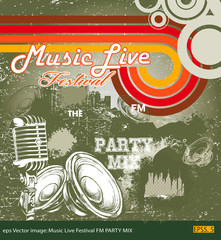 eps Vector image: Music Live Festival FM PARTY MIX