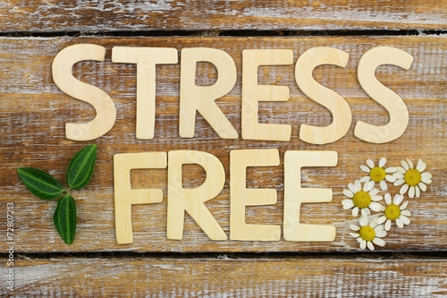 canvas print picture Stress free written with wooden letters on rustic wood