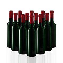 Bottles of wine in rows on white