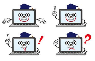 ノートパソコン キャラクター博士 表情セット
