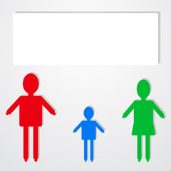 Family infographic icon with text bubble