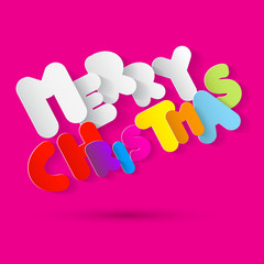 Merry Christmas Paper Colorful Tile on Pink Background