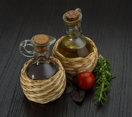 Oil, vinegar with rosemary