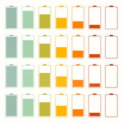 Simple Battery Life Icon Set Set Isolated on White Background