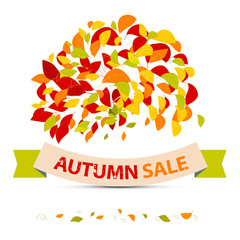 Abstract Vector Autumn Sale Illustration with Leaves