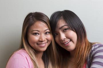 Portrait of two happy women.