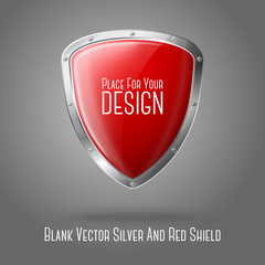 Blank red realistic glossy shield with silver border isolated on