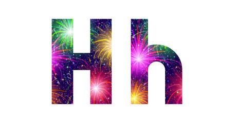 Set of letters, firework, H