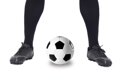 Legs of soccer player with ball on white