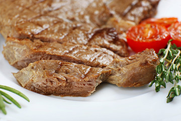 Delicious grilled meat on table, close-up