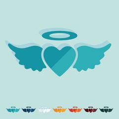 Flat design: heart angel