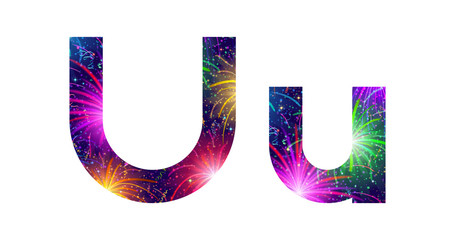 Set of letters, firework, U