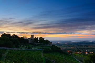 Montmelas castle at sunrise time - Beaujolais