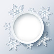Winter modern background grey, 3d snowflakes