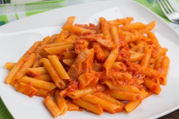 pasta, italian food, penne all'amatriciana