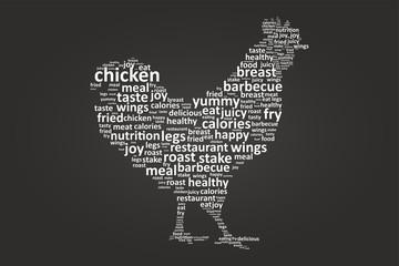 Rooster Shape Food Word Cloud On Blackboard