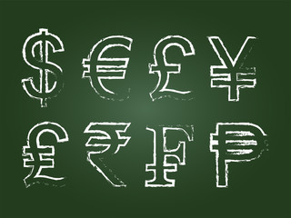 Currency Icon Set On Green Chalkboard