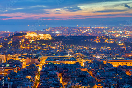 In de dag Barcelona View over Athens with the Acropolis at night