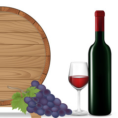 Grape,Bottle wine,Glass wine and wooden barrel,Vector illustrati
