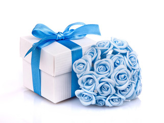 blue flowers and white gift box