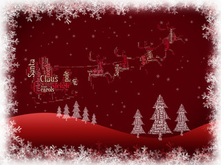 Santa Claus on a sleigh drawn by reindeer,  background