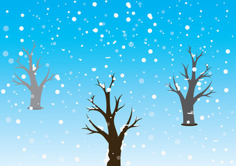 winter trees in snow concept vector illustration