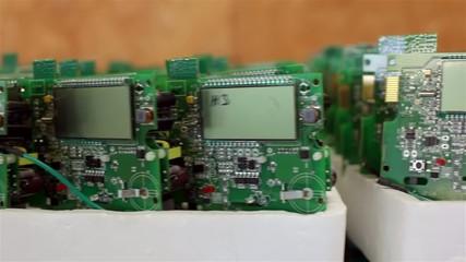 Green circuit boards slide shot