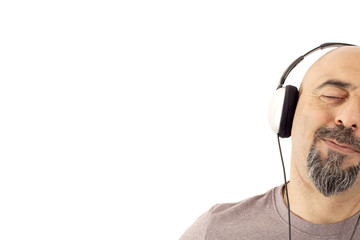 The man listening to the music