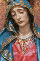 Seville - The detail of cried Virgin Mary statue