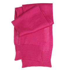 Pink woolen scarf isolated on white