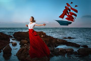 Beautiful girl holding a kite
