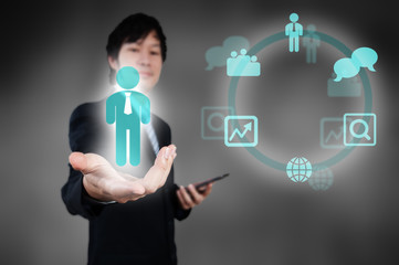 Businessman working with digital visual object, human resource c