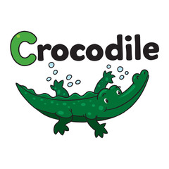 Little crocodile or alligator. Alphabet C