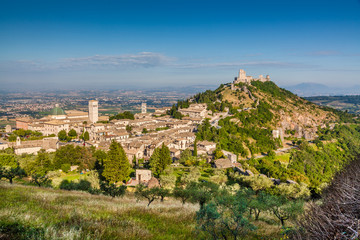 Historic town of Assisi in morning light, Umbria, Italy