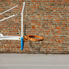 Basketball board with brick wall background