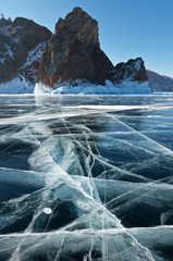 Lake Baikal. Winter travel on ice