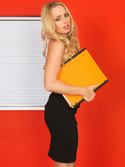 Young Office Worker Holding Businness Files