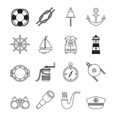 Set of black line yachting and sailing icons