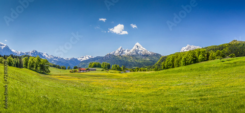 Fotobehang Alpen Idyllic summer landscape in the Alps