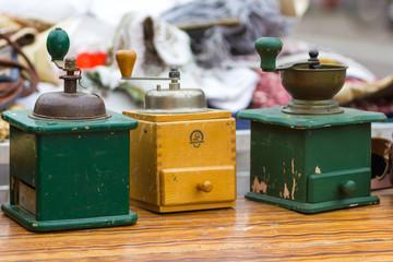 vintage coffee grinder in a flea market