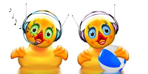 zwei musikalische Badeenten mit Kopfhörer und Badeball