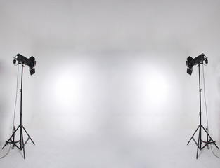 studio setup with lights and background